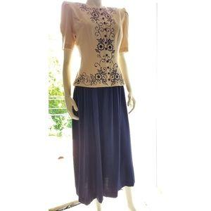 Karin Stevens Embroidered 2-Piece  Dress/Jacket,6